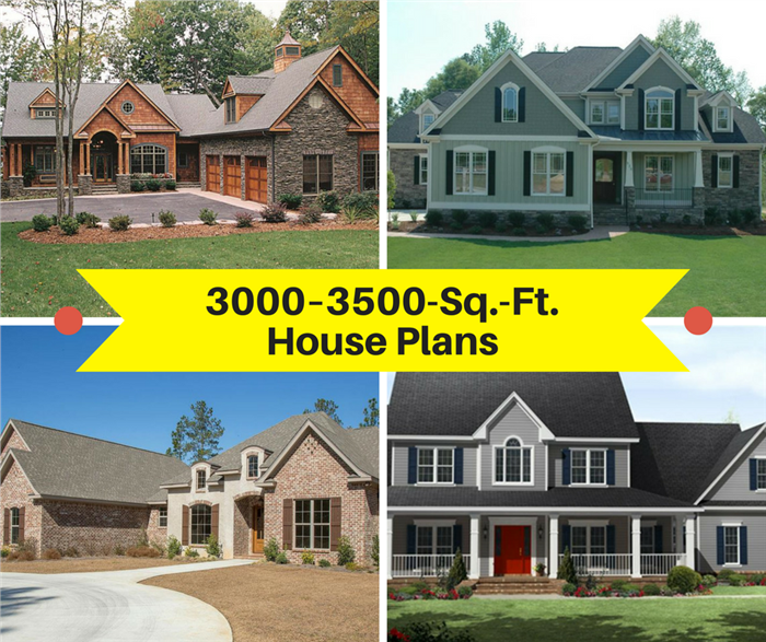 Montage of 4 photographs illustrating article on 3000-3500-sq.-ft. house plans