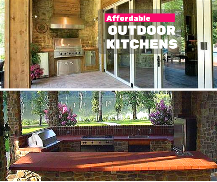 Photo compilation illustrating Outdoor Kitchens