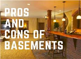Finished basement with bar illustrating article about the pros and cons of basements