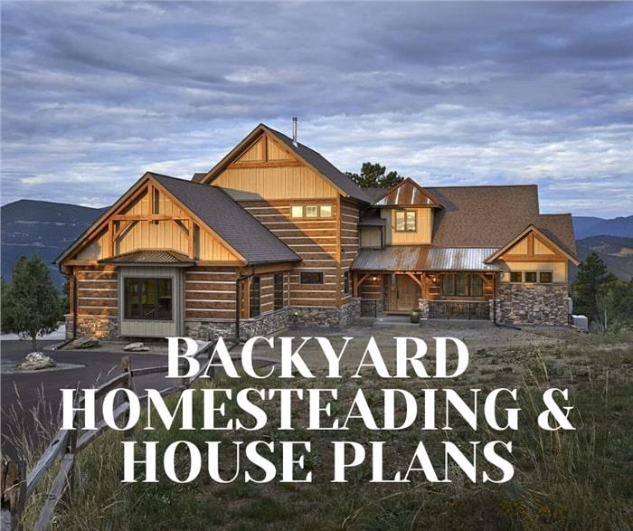 Log home illustrating article about backyard homesteading
