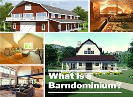 Five house interiors and exteriors illustrating article about barndominiums