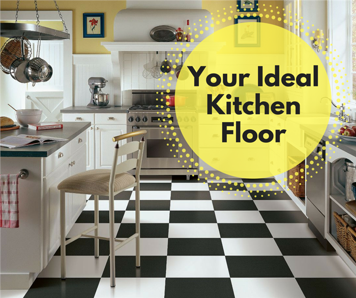 Photo showing a vinyl kitchen floor