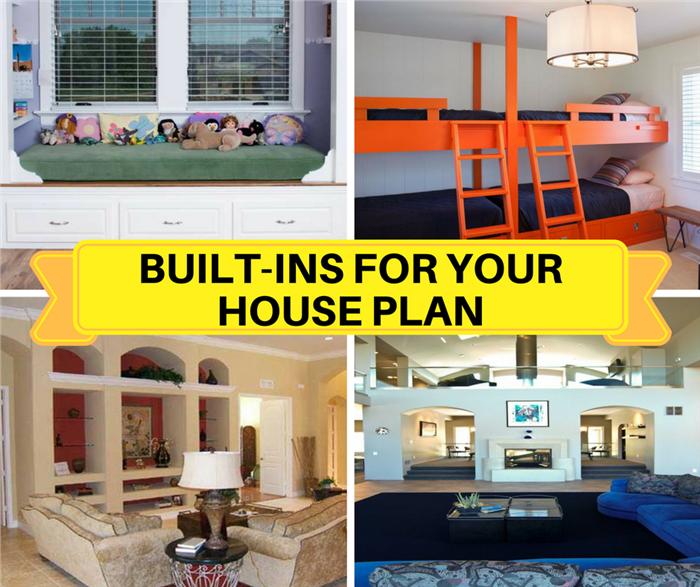 Montage of 4 images illustrating home built-ins