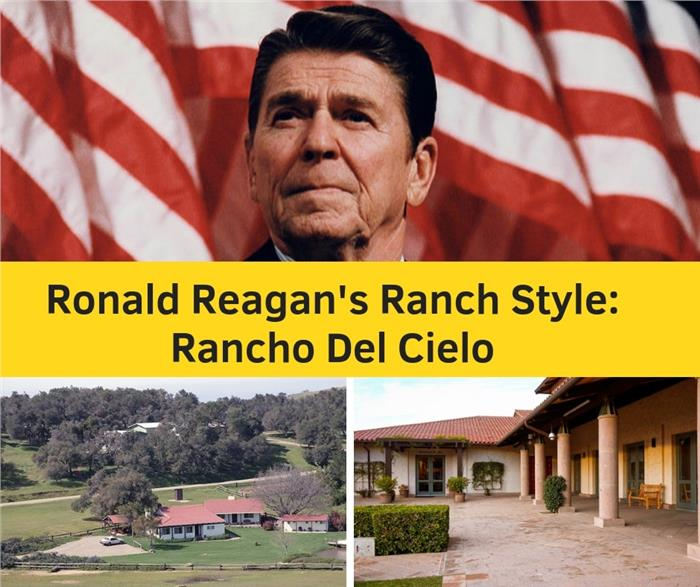 Composite of two photos illustrating article on Ronald Reagan's home, Rancho del Cielo