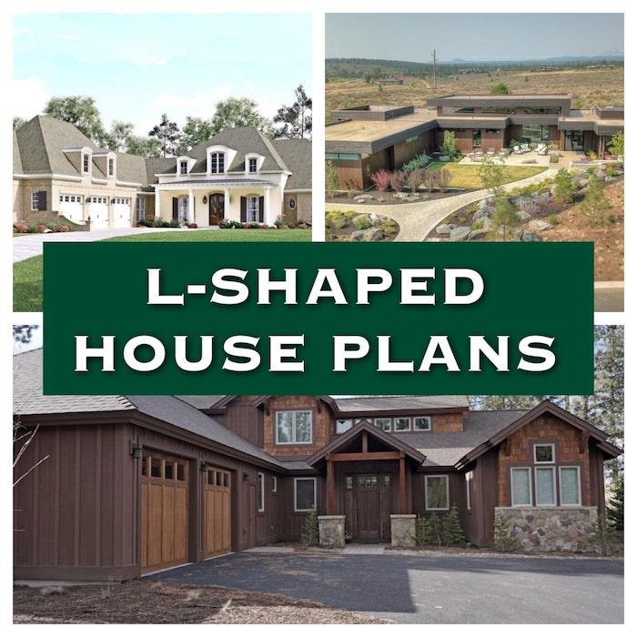 3 homes in different styles illustrating article on L-shaped houses