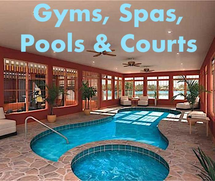 Indoor swimming pool illustrating article on gyms, spas, pools, and courts in houses