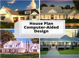 Four homes designed using computer-aided-design software illustrating article about CAD
