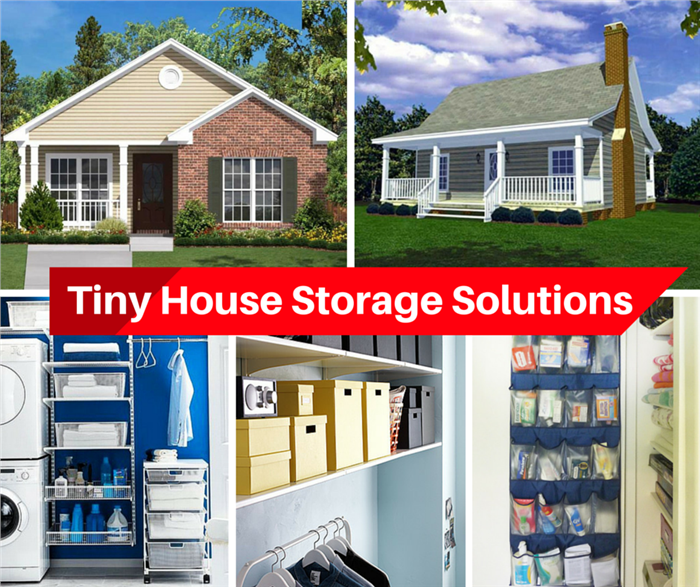Montage of 5 photos illustrating Storage in Tiny Houses