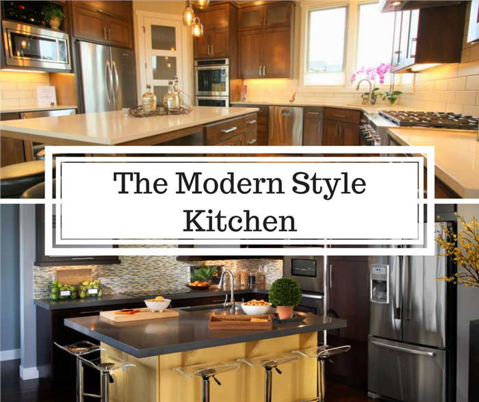 Montage of 2 photographs illustrating article on modern style kitchens