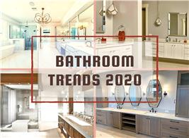 Four contemporary bathrooms illustrating article about bathroom trends for 2020