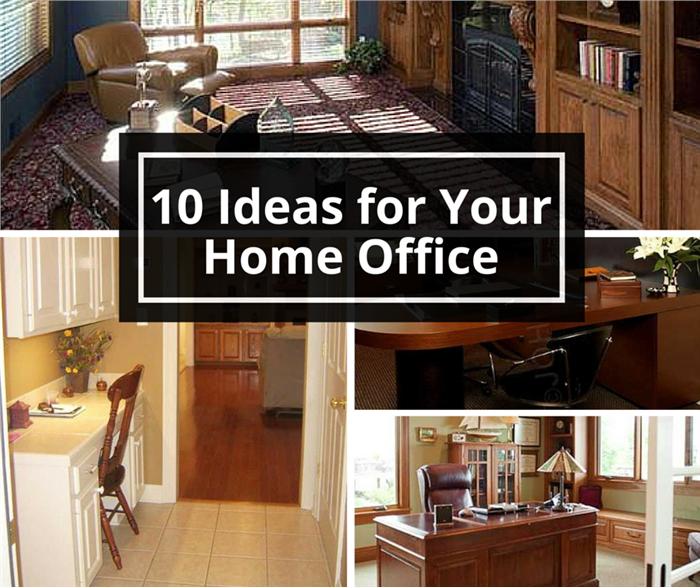 Montage of 4 images illustrating home-office ideas