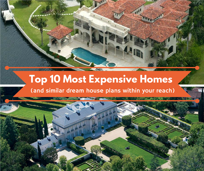 Montage of 2 photographs illustrating an article on the 10 most expensive homes in the world