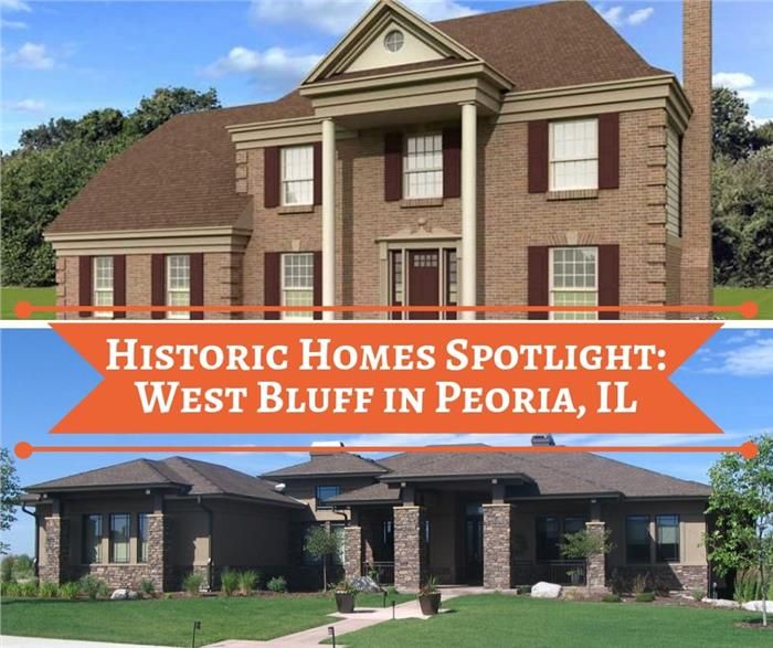 Montage of images illustrating historic West Bluff District in Peoria, IL