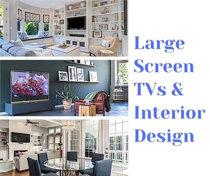 Montage of 3 photos illustrating article on designing a room with a large-screen TV