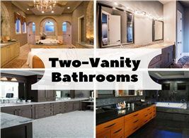Montage of 4 photographs illustrating article on two-vanity bathrooms
