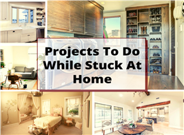 Several rooms around the house illustrating an article about projects to do while stuck at home during Covid-19
