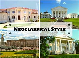 Four traditional homes illustrating article about Neoclassical style houses