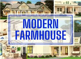 Three Farmhouse homes and two interiors illustrating article about Modern Farmhouse style