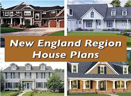 4 homes illustrating article on New England Region house plans