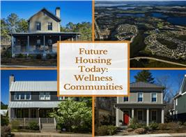 Montage of 4 photographs illustrating article on wellness communities