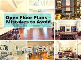 6 open floor plans illustrating article about avoiding mistakes in open floor layouts