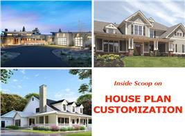 3 house photos illustrating article on home plan customization