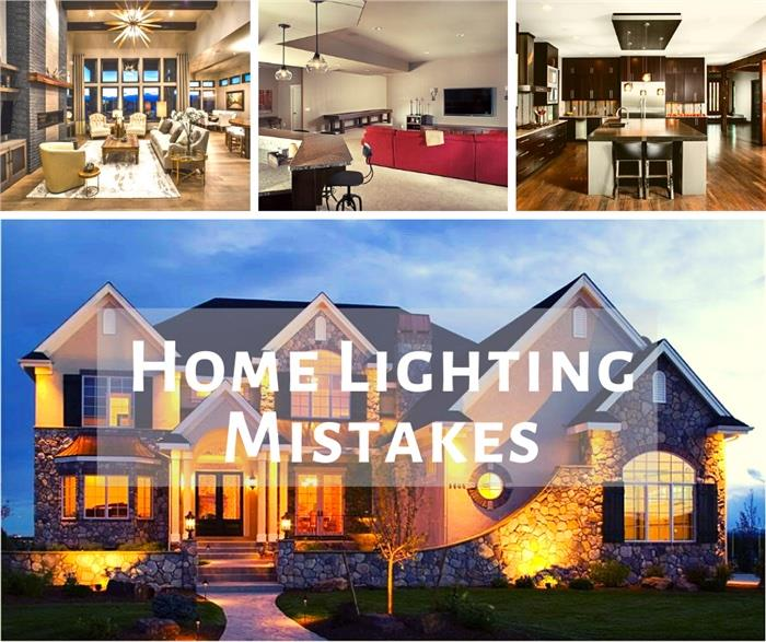 An exterior and 3 interiors of houses illustrating article about home lighting mistakes