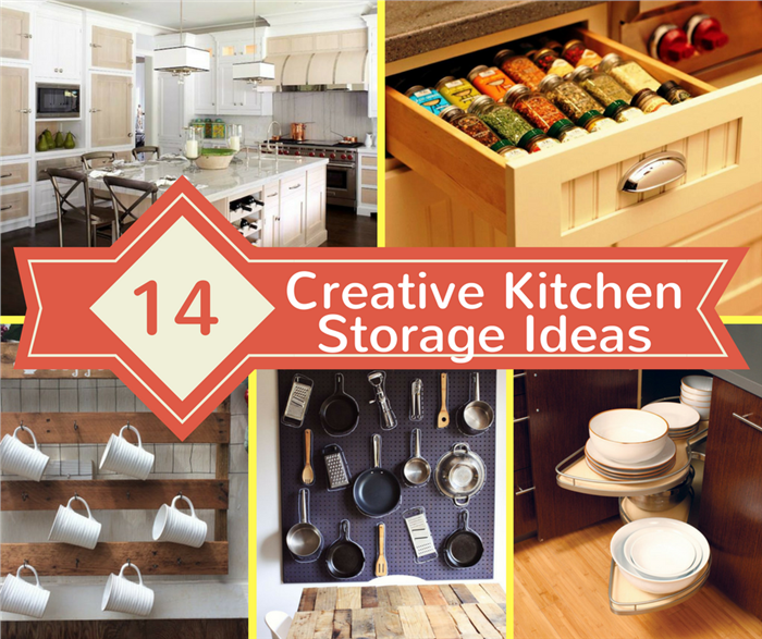 Montage of 5 photos illustrating article on kitchen storage