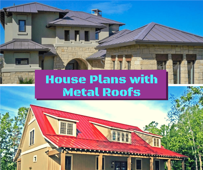 Montage of 2 photographs illustrating article on residential metal roofs