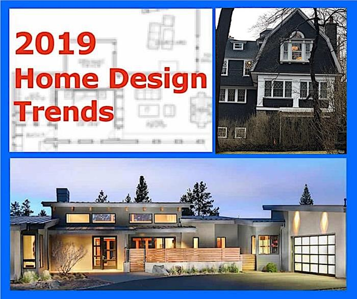 Images illustrating article on 2019 House Plan Design Trends