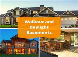 Two house exteriors and one interior illustrating article about daylight & Walkout basements