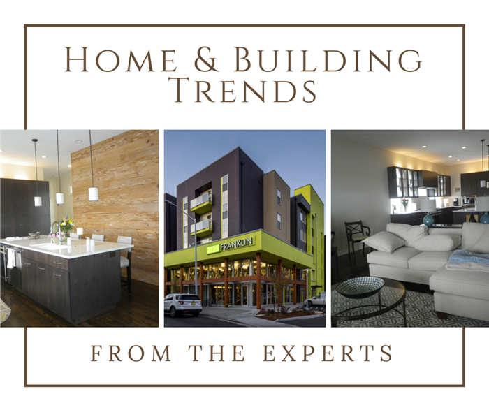 Montage of 3 photographs illustrating article on building and design trends