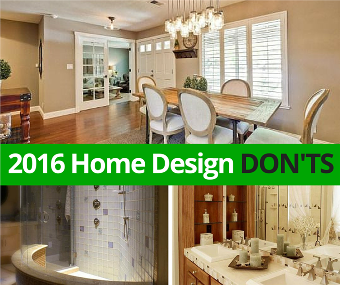 Montage of 3 photos illustrating home design don'ts