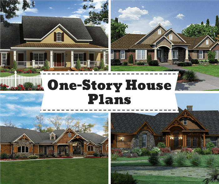 Montage of 4 images illustrating article on 1-story house plans