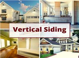 Interiors and exteriors of  homes to illustrate article about vertical siding