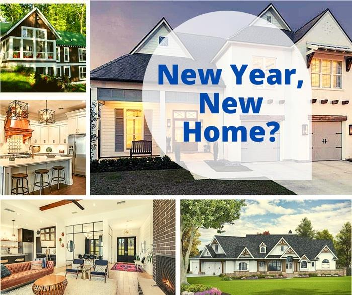 Houses and interiors illustrating article about planning and building a new home in the new year