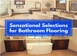 Montage of 2 photographs illustrating article on bathroom flooring