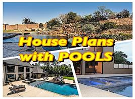 Three backyard pools to illustrate article about house plans with pools