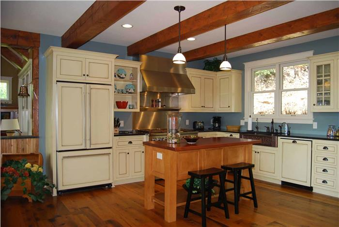 Country kitchen in blue, cream and hardwood colors