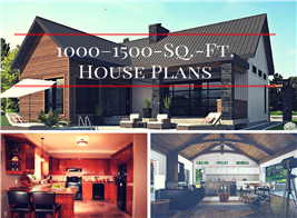 Montage of 3 photos illustrating article on house Plans that are 1000–1500 sq. ft. in size