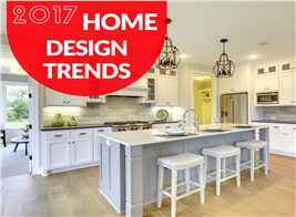 Montage of 2 photos illustrating home design trends for 2-17