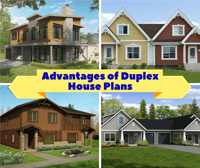 Montage of 4 images illustrating article on duplex house plans