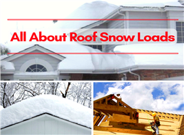 Montage of 3 images illustrating roof snow loads
