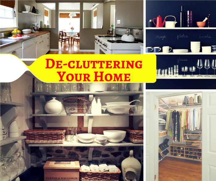 Montage of 4 photos illustrating clutter-free storage