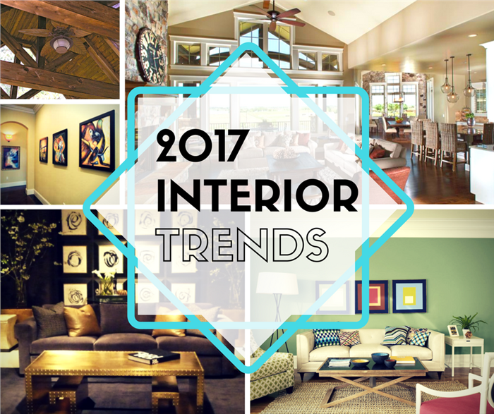 Montage of 4 photographs illustrating 2017 interior home design trends