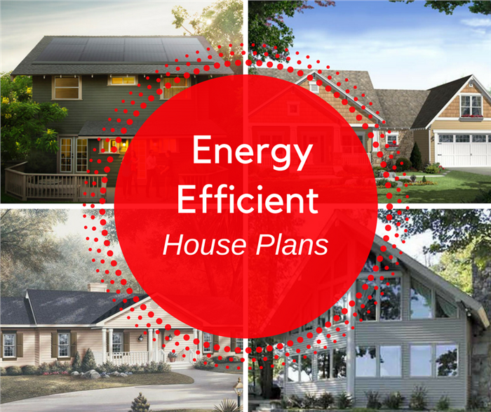 Montage of 4 photographs illustrating article on energy-efficient house plans