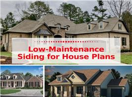 Montage of 3 photographs illustrating article on low-maintenance house exteriors