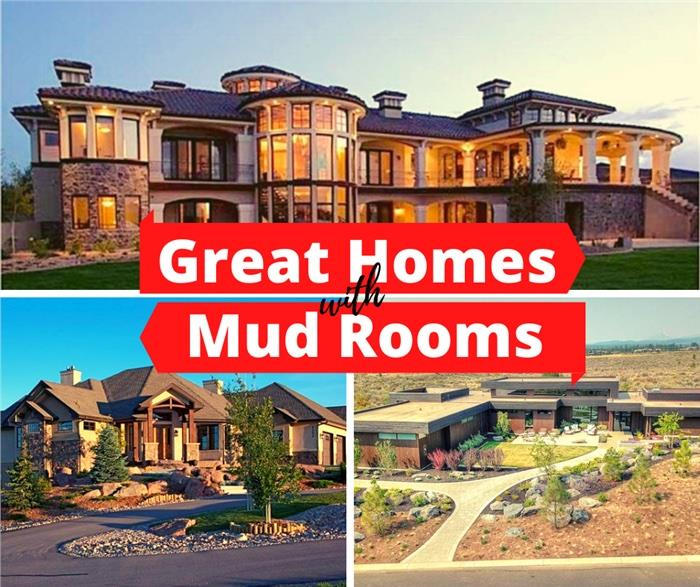 Three homes that illustrate article about great homes that have mud rooms