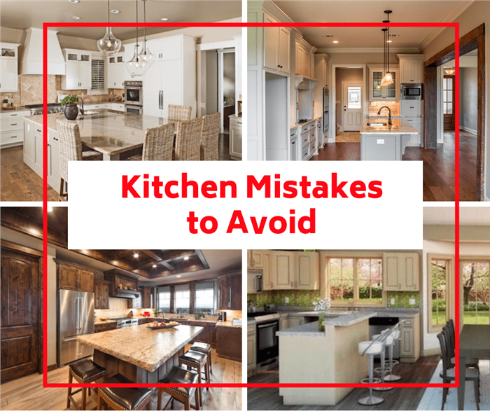 Montage of four kitchens illustrating article on kitchen mistakes to avoid