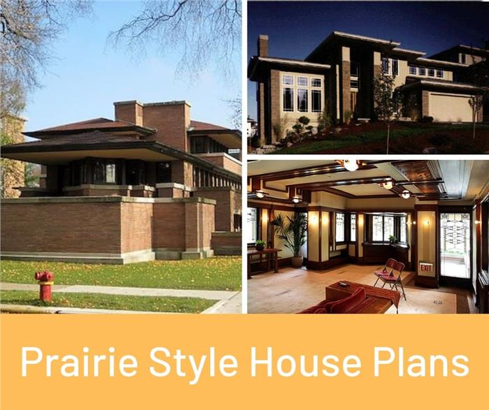 Montage of 3 homes illustrating article on Prairie style houses